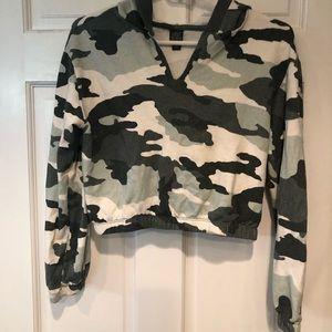 camo crop sweater with hood!